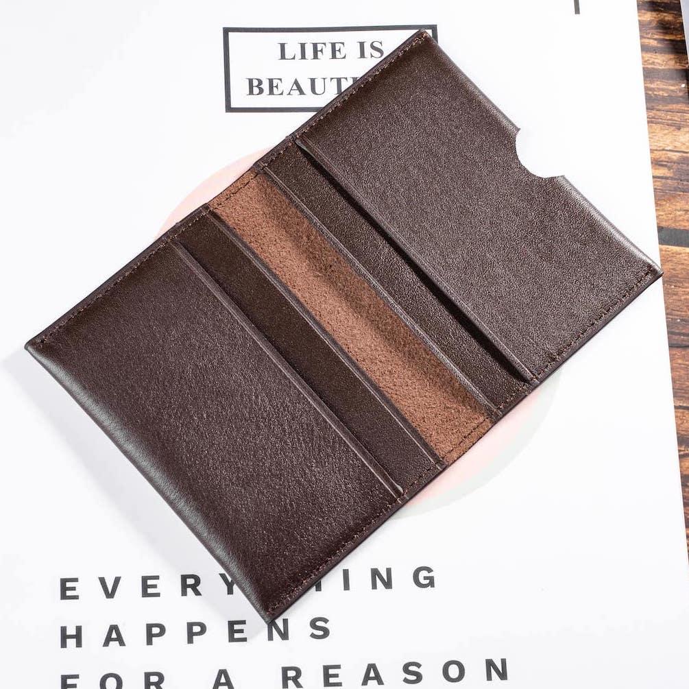 ví mini card màu nâu bên trong