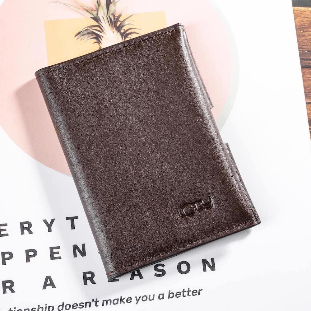 ví mini card màu nâu bên ngoài