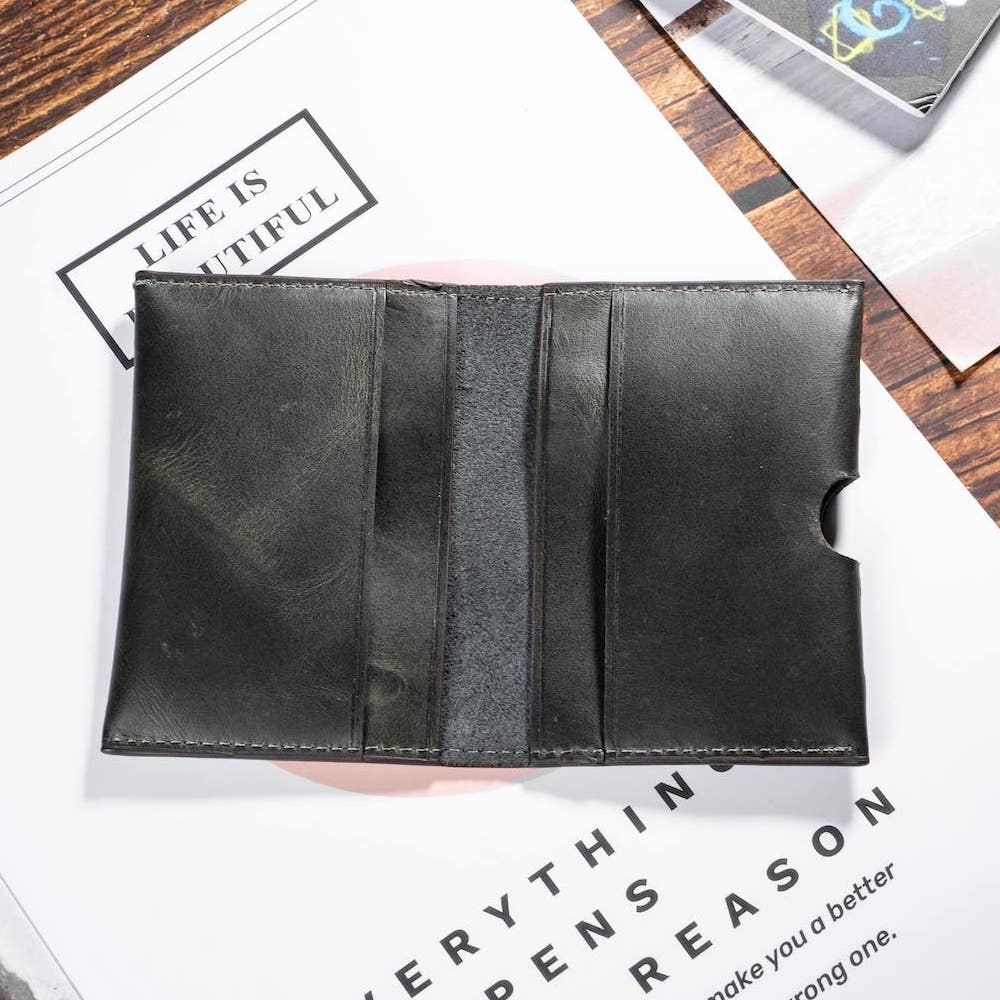 ví mini card màu xám đen bên trong