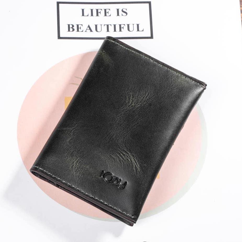 ví mini card màu đen xám bên ngoài
